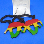 "3"" Rasta Color  Africa Map & Elephant Wood Fashion Earrings .52 each"