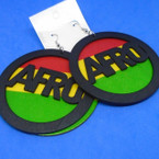 "3"" Rasta Color Round AFRO 2 Part Wood Fashion Earrings .52 each"