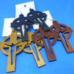 """3"""" Wood Tone Color Wood Earrings Cross w/ Jesus  .52 each"""