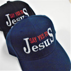 Say Yes to Jesus Embroidered Baseball Caps Blk/Navy  12 per pk $ 2.50 each