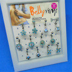 Silver Belly Ring Mixed Styles  w/ Blue Crystal Stones 12 on Display .55 each