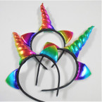 "Popular 5"" Rainbow Unicorn Headbands w/ Rainbow Cat Ear's .60 each"