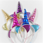 "Popular 5"" Metallic Unicorn Headbands w/ Sparkle Cat Ear's .60 each"
