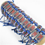 Teen Leather Bracelets w/ Puerto Rico Flag Theme .54 ea