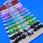 Mixed Color Macrame Bracelets w/ Cry. Stone Elephant & Fire Ball Beads .54 ea