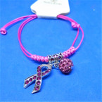 Pink Cord Bracelet w/ Pink Ribbon & Fireball Cry. Bead Charms .54 each