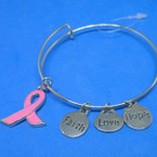 Silver Wire Bangle Bracelet w/ Pink Ribbon Theme Charms .54 ea