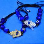 Blue Glass Bead Macrame Bracelet w/ Gold/Silver Cry. Stone Hamsa .54 ea