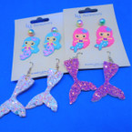Too Cute 3 Pair Mermaid Theme Kid's Earrings .52 per set