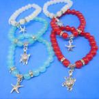 Best Buy Glass Bead Stretch Bracelet w/ Turtle & Starfish Charms 24 per pk .27 ea