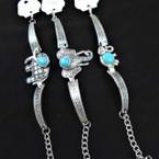 Cast Silver Fashion Bracelet w/ 3 Style Elephant & Turquoise Stones .56 ea
