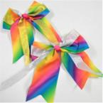 """6"""" X 6"""" Tail Gator Clip Bows Rainbow w/ Gold/Silver Ribbon .54 each"""