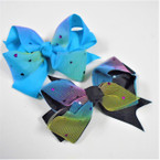 """5"""" 2 Layer Lace Gator Clip Bow w/ Colored Hearts .54 each"""