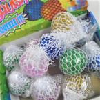 "2.5"" White Mesh Squishy Balls w/ Glitter 12 per display bx .56 ea"