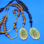 """34"""" Wood Beaded Rosary w/ DBL Sided Guadalupe Pendant .56 each"""