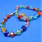 BEST BUY Multi Color Crystal & Fireball Beaded Fashion Bracelets .54 each
