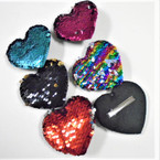 "3"" Heart Change Color Sequin Gator Clip Bows 24 per pk .28 each"