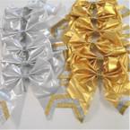 """6"""" X 6"""" Gold & Silver w/ Glitter Stripe Gator Clip Bows .54 ea"""