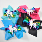 "5"" 2 Layer Gator Clip Bows w/ Metallic Ribbon & Unicorn  .54 ea"