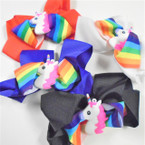 "5"" 2 Layer Gator Clip Bows w/ Rainbow Ribbon & Unicorn  .54 ea"