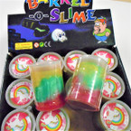 "3"" Tri Color Barrel O Slime Putty  12 per display .58 each"