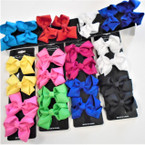 "4 Pack 2.75"" Gator Clip Bows Mixed Colors  .54 per set"