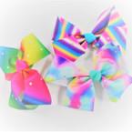 """5"""" Tye Dye & Rainbow Gator Clip Bows w/ Clear Color Stones .54 ea"""