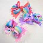 "5"" Multi Layer Cut Ribbon Rainbow Gator Clip Bows .54 ea"