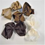"6"" Mixed Brown Tone  Color Gator Clip Fashion Bow .45 ea"