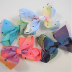 "5"" 2 Layer Gator Clip Bows w/ Rainbow Lace & Stars/Moon .54 ea"