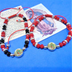Red & Black Handmade Beaded Bracelets w/ Guadalupe Charm .54 ea