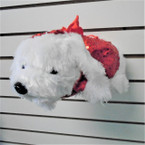 "13"" White Puppy Sequin Plush Handbag  12 per pk $ 3.00 each"