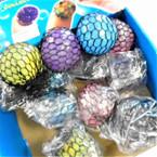 """2.5"""" Mixed Color Mesh Squishy Balls w/ Glitter Inside 12 per display bx .56 ea"""