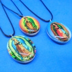 Leather Cord Necklace w/ Dbl Sided Glass Guadalupe Pendant .54 ea