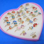 Mixed Style Kid's Crystal Stone Fashion Rings 36 pc box (2154) .19 each