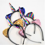 Mixed Color Popular Unicorn Sequin Headbands .56 each
