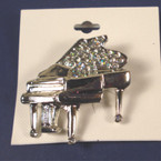 "2"" Cast Silver Piano Broach w. Glitter"
