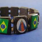 Wood Stretch Bracelet Saints w/ Brazil Flag
