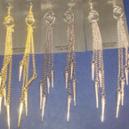 "6"" Dangle Chain Earring w/ Multi Spikes 3 colors .25"