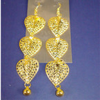 "3"" Gold Triple Heart Dangle Earring w/ Cry. Stones"