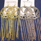 "5"" Long Gold & Silver Rd. Top Earring w/ Dangle Chains .50 ea"