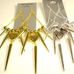 "4"" Gold & SIlver Dangle Spike Earring w/ Heart .50 ea"