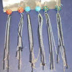 "REDUCED 6"" Lg.Multi Silver/Blk  Chain Earring w/ Colorful Fireball .33 ea"