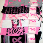 Pink Ribbon Theme Knee High Socks Size 9-11 Asst Prints (1500)