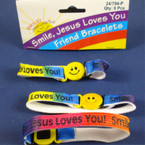 Smile Jesus Loves You Friendship Bracelet 6-12-pks per sale