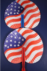 "9"" USA Flag  Folding Fans 12- per pack .17 EACH"