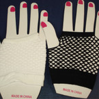 Fish Net Club Gloves  Black & White (V03)  .45 per pair
