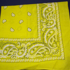 Bandana Yellow  DBL Side Printed 100% Cotton