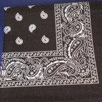 Bandana Black DBL Side Printed 100% Cotton .50 ea