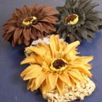 """2.5"""" Stretch Crochet Headwrap w/ 4""""  SunFlower w/ Stone Brown/Blk .25"""